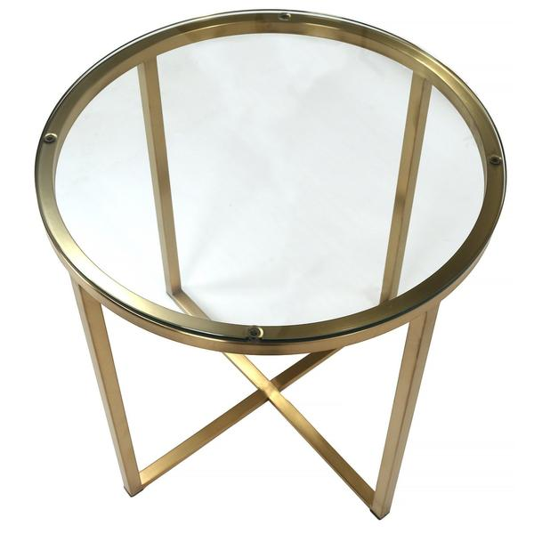 Proud Glass Side Table (Polished Gold)