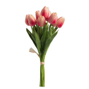 Faux Tulip 9-Stem Bundle,Cerise