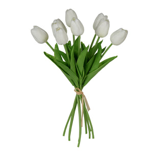 FAUX TULIP 9-STEM BUNDLE, WHITE