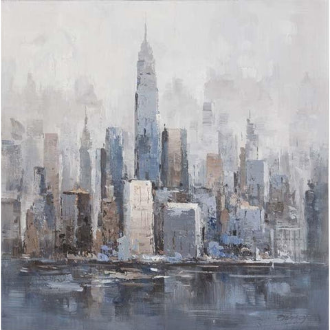 Gallery Wrapped Original Oil Painting City Skyline 80x80