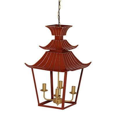 CORAL COLOUR PAGODA CHANDELIER
