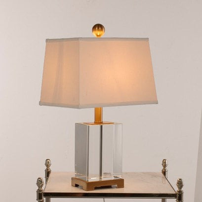 Crystal Cube in Bronze Table Lamp