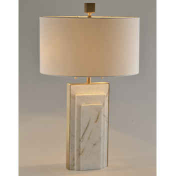 Stepped Marble Table Lamp White