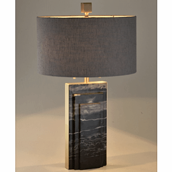 Stepped Marble Table Lamp Black