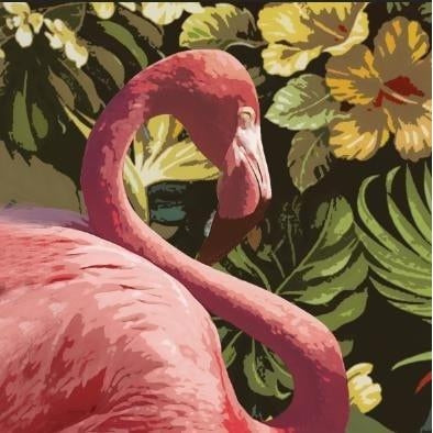 Hand Painted Gallery Wrapped Oil Painting Pink Flamingo 120x120cm