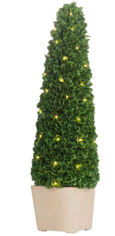 Faux Boxwood Potted Topiary Tree w/ Lights, Large