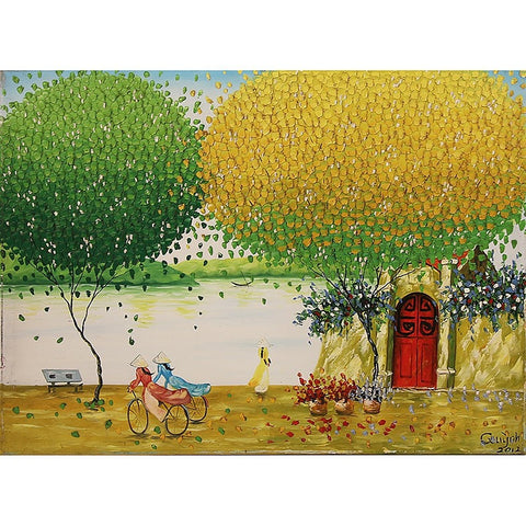 Hanoi Park Oil Painting 60x80 UNFRAMED