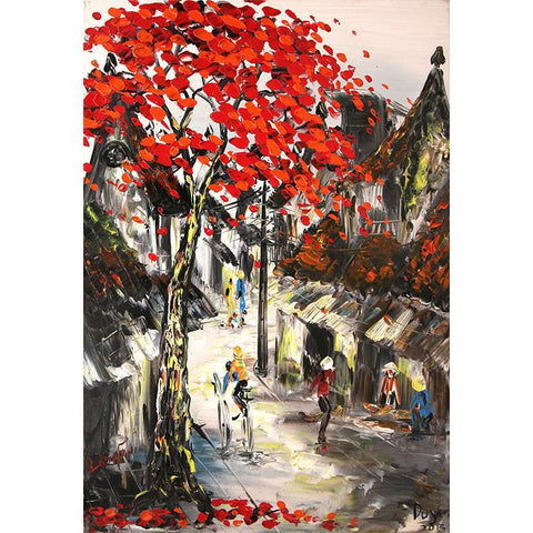 Hanoi Red Trees2 Oil Painting 60x80 UNFRAMED