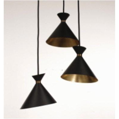 Retro Black and Gold Cone Triple Light Pendant