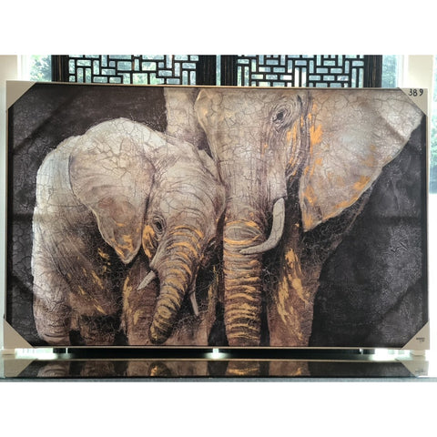 Image of Canvas Hand-Painted Elephant Wall Art w/ Gold Foil Finish