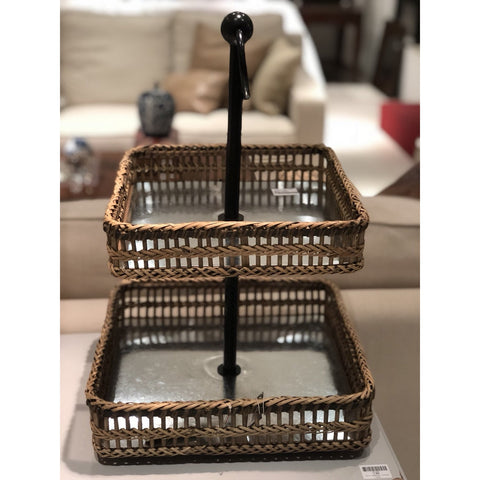 Square metal bamboo tray