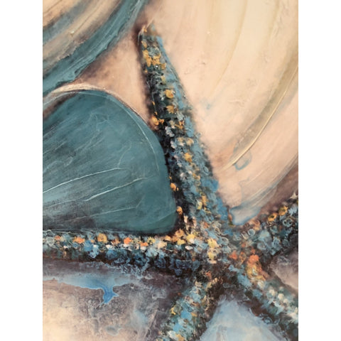 Canvas Hand-Painted Seashell & Starfish Wall Art (1 starfish)