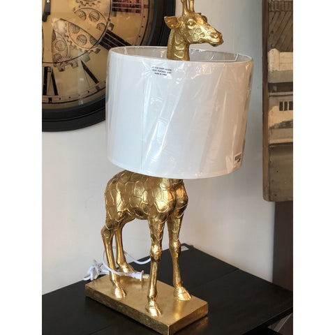 Resin giraffe table lamp, gold finish