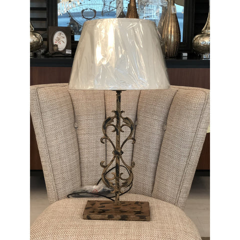 Distressed Scrolled Table Lamp w/ Linen Shade