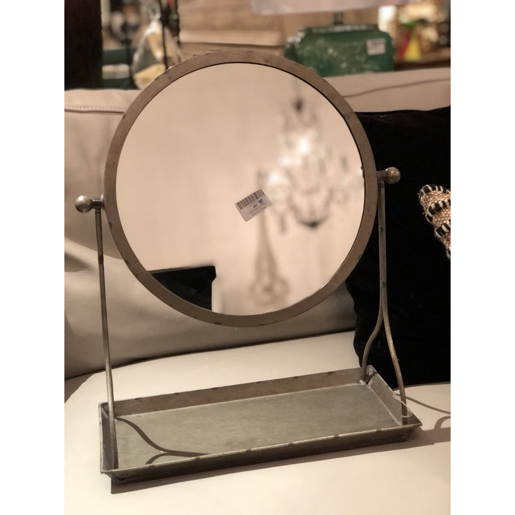 Metal Framed Mirror on Stand w/ Tray, Distressed Finish