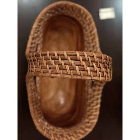 Oval Acacia Wood Rattan Weaving Handle Basket