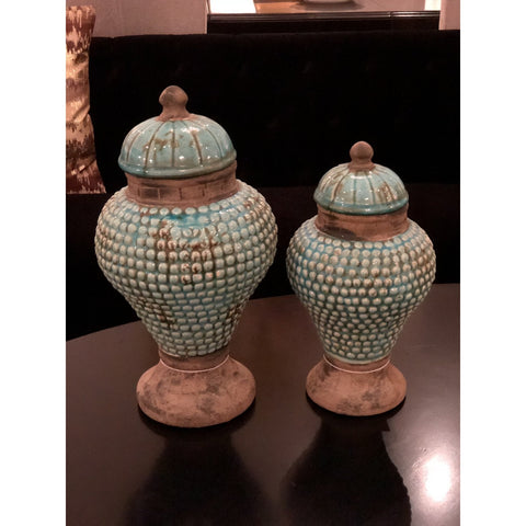 Distressed Blue Terra Cotta Jar w/ Lid, (S/L)