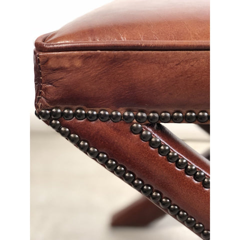 Leather Ottoman With Studs