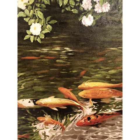 Koi Fishes Beneath Flowering Shrouds