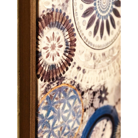 Image of Canvas Hand-Painted Wall Art, Blue