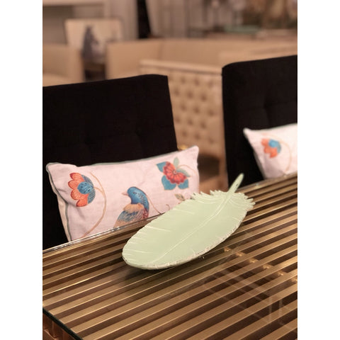 Image of Aqua Resin Feather Shaped Tray