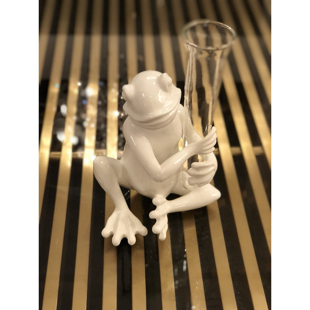 White Resin Sitting Frog Glass Vase
