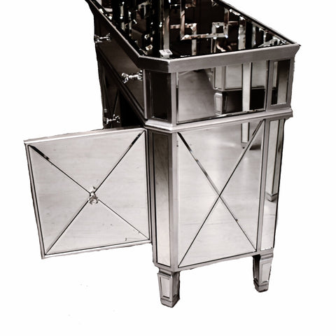 Silver Leaf Double Mirrored Nightstand