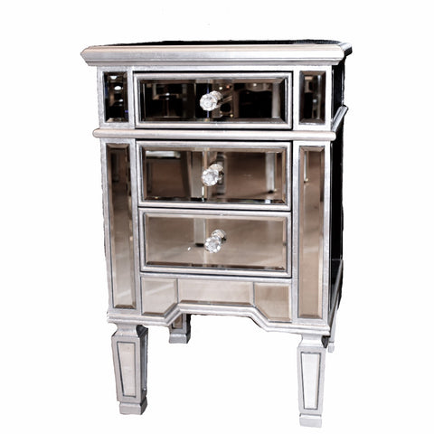 Silver Leaf Mirrored Nightstand (ON SALE)