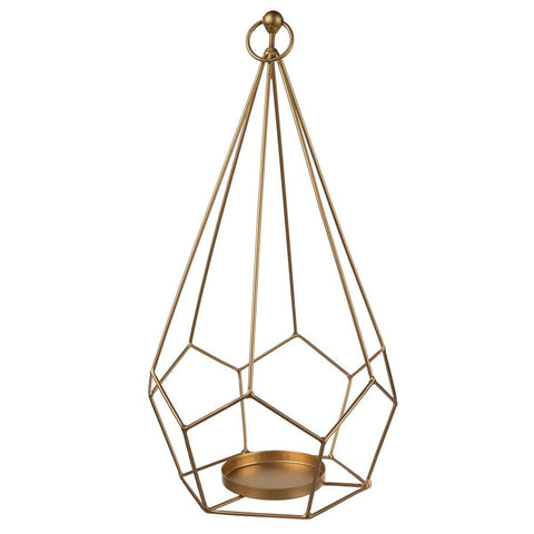 Hanging Metallic Candle Holder Gold