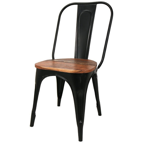 Iron Chair with Recycled Wood Seat