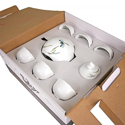 Minh Long 8 Piece Porcelain Tea Set - Bamboo Dragonfly Pattern FINAL PRICE $89.60