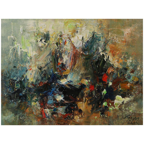 Multicolour Abstract Original Oil Painting Vietnam