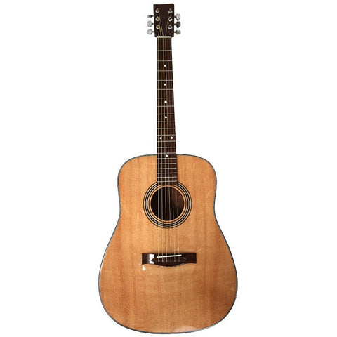 Professional Quality Natural Wood Gloss Finish Acoustic Guitar and Case