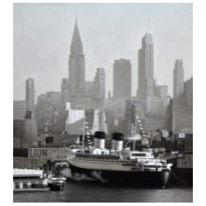 New York Port - Oil on Metal
