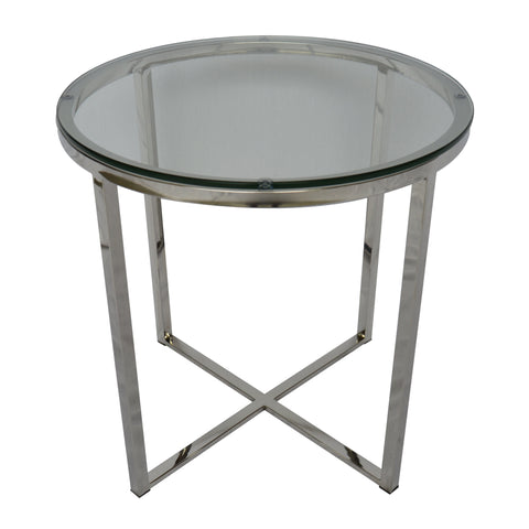 Proud Glass Side Table Stainless Steel