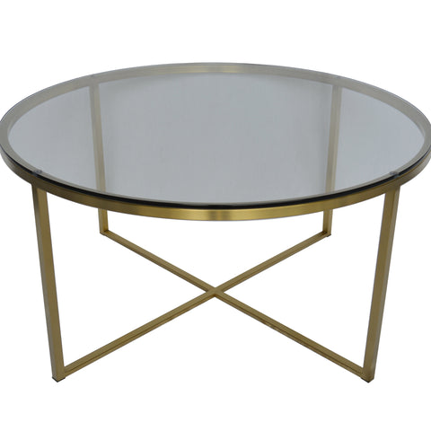 Proud Glass Cocktail Table (Brushed Gold)
