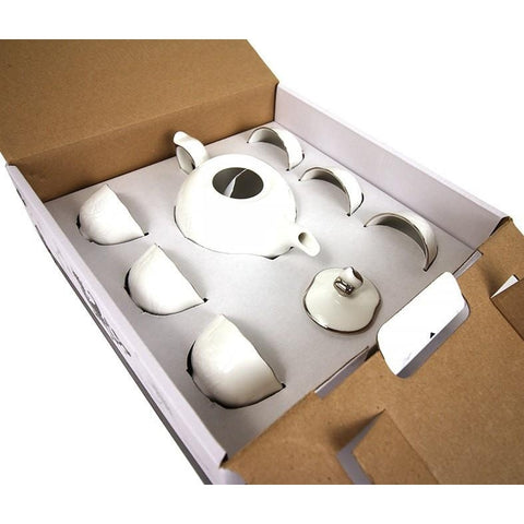 Minh Long 8 Piece Porcelain Tea Set - Platinum Edge Peony