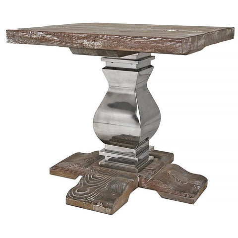 Reclaimed Elm Side Table with Metal Base