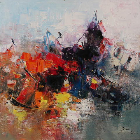Reds, Greys and Blues Abstract Original Oil Painting Vietnam