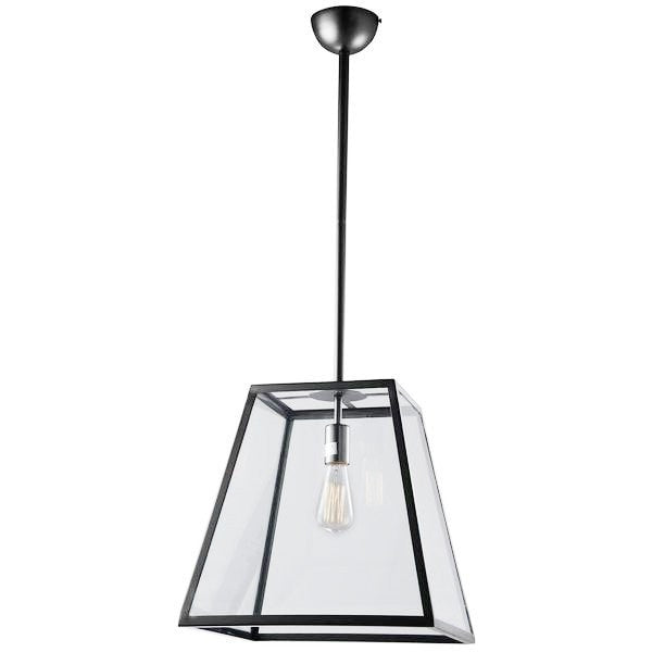 4 Panel Glass and Metal Pendant One Light