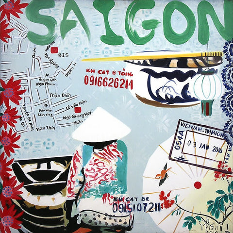 Saigon Street Food Oil Paintings 80x80 UNFRAMED