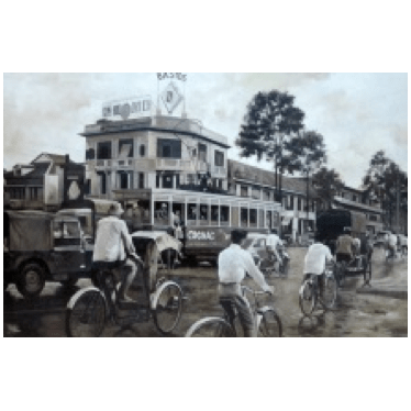 Saigon Black and White - Oil on Canvas