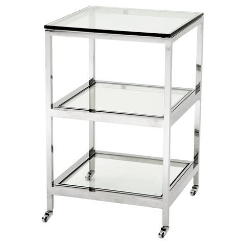 3 Tier Side Table Shiny Stainless Steel with Clear Glass