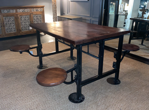 Cast Iron Dining Table with 4 Stools