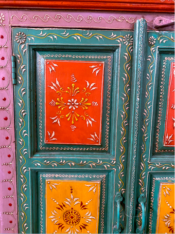 Image of Wooden Hand painted Cabinet