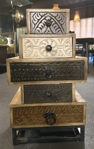 Wooden Carved Chest of Drawers on Iron Stand