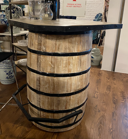 Wooden Metal Fitted Barrel Bar