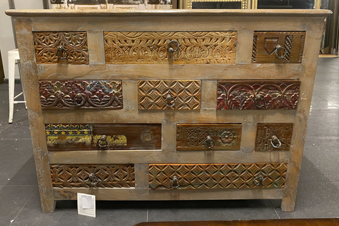 Image of Wooden Antique Carved chest of drawers