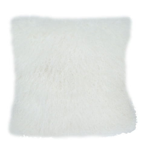Natural Colour Lamb Fur Pillow with Feather Fill Grey