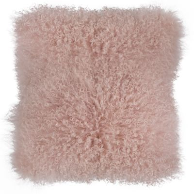 Lamb Fur Pillow with Feather Fill Pink